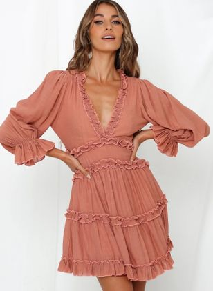 Solid Ruffles Long Sleeve Above Knee X-line Dress