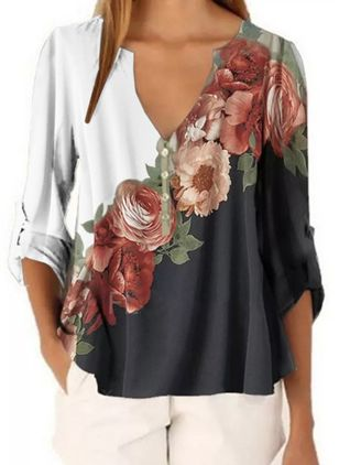 Floral Casual V-Neckline Long Sleeve Blouses (4044060)