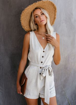 Solid Sleeveless Jumpsuits & Rompers