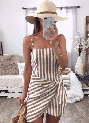 Stripe Slip Sleeveless Above Knee Sheath Dress