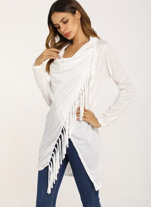 Polyester Others Solid Asymmetrical Tassel Ruffles Sweaters