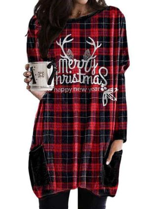 Christmas Geometric Sweatershirt Round Neckline Shift Dress (146718401)