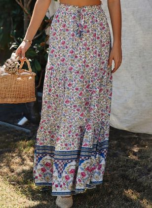 Floral Maxi Casual Skirts (4042930)