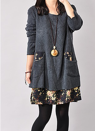 Cotton Floral Long Sleeve Above Knee Casual Dresses
