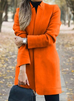 Long Sleeve Collarless Coats (107561859)