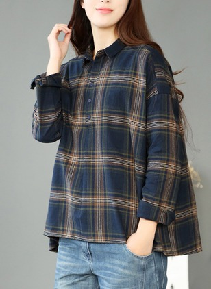 Check Casual Cotton Linen Collar Long Sleeve Blouses