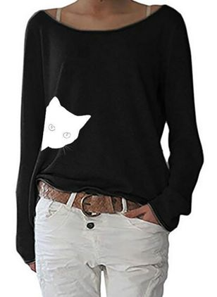 Animal Casual Boat Neckline Long Sleeve Blouses (106704075)