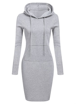 Solid Pockets Sweatershirt Midi Sheath Dress