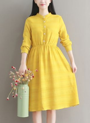 Solid Buttons Long Sleeve Knee-Length Dress