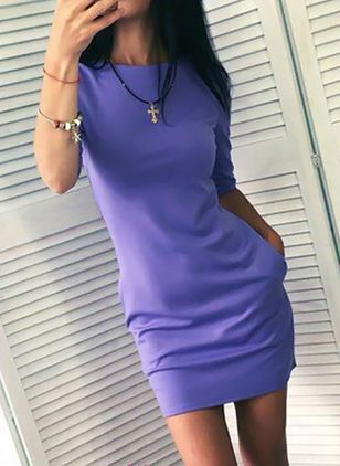Solid Half Sleeve Above Knee Bodycon Dress