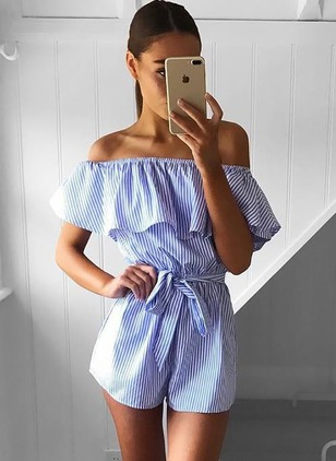 Cotton Stripe Short Sleeve Jumpsuits & Rompers