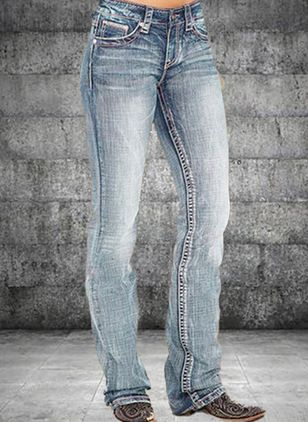 Casual Straight Knapper Lommer Lav talje Denim Jeans (147221193)