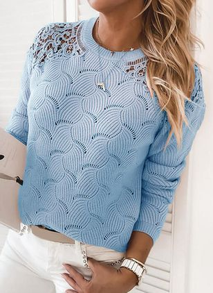 Round Neckline Solid Casual Loose Regular Lace Hollow Out Sweaters (146904571)