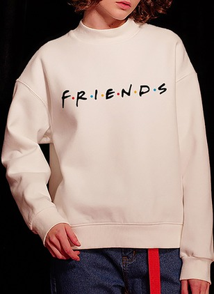 Alphabet Trendy High Neckline None Sweatshirts