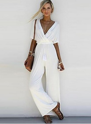 Chiffon Solid Half Sleeve Jumpsuits & Rompers