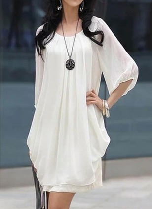 Cotton Solid Ruffles 3/4 Sleeves Shift Dress