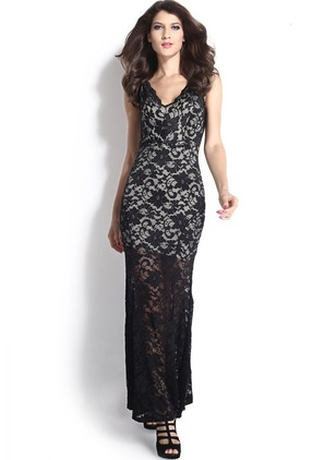 Solid Lace Pencil V-Neckline Sheath Dress