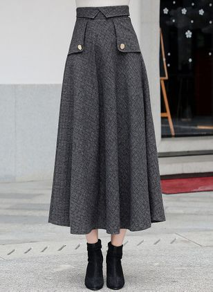 Check Mid-Calf Casual Buttons Skirts (107805031)