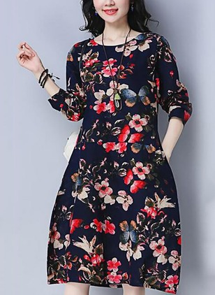 Cotton Linen Floral Long Sleeve Knee-Length Dresses