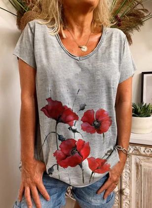 Floral Round Neck Short Sleeve Casual T-shirts (146989975)