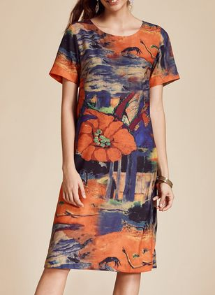 Elegant Floral Tunic Round Neckline Shift Dress (1538546)