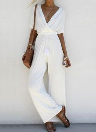 Solid Short Sleeve Jumpsuits & Rompers (4864583)