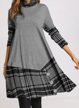 Casual Plaid Tunic High Neckline A-line Dress (118206955)