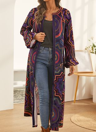 Long Sleeve Round Neck Coats (146783433)