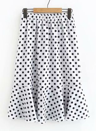 Polka Dot Above Knee Casual Ruffles Skirts (1520074)