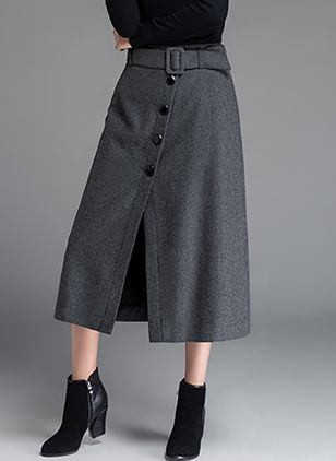 Solid Mid-Calf Casual Buttons Pockets Sashes Skirts