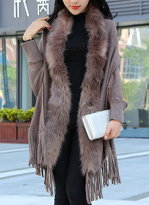 Polyester Long Sleeve Other Tassel Coats