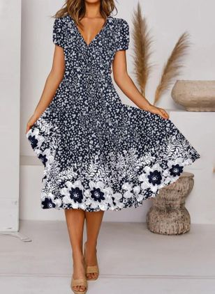 Casual Floral V-Neckline Midi A-line Dress (147065698)