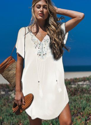 Polyester Solid Crochet Cover-Ups Swimwear (4072981)