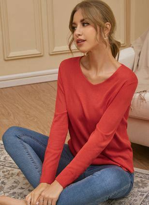 V-Neckline Solid Casual Loose Regular Shift Sweaters (107423179)