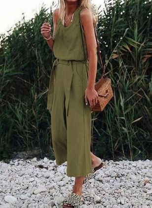 Casual Straight High Waist Polyester Pants Jumpsuits (146961529)