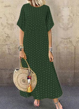 Plus Size Casual Polka Dot Round Neckline Maxi Shift Dress (4864806)