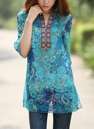 Floral Casual Chiffon Collar 3/4 Sleeves Blouses