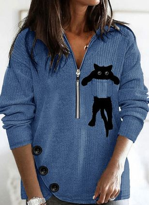Collar Animal Casual Loose Regular Buttons Zipper Sweaters (146904570)