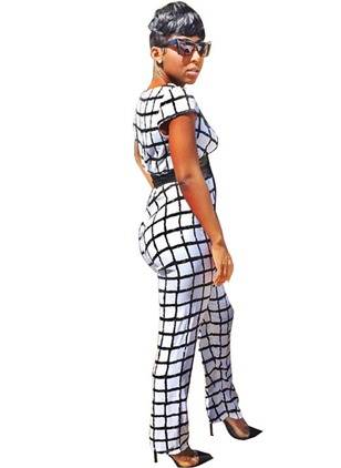 Polyester Check Short Sleeve Jumpsuits & Rompers
