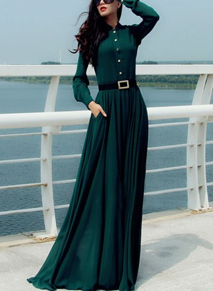 Solid Buttons Long Sleeve Maxi A-line Dress