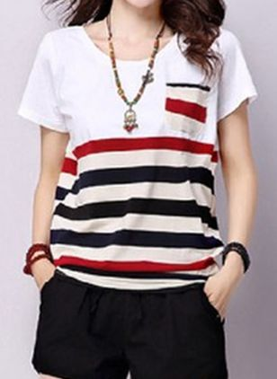Stripe Round Neck Short Sleeve Casual T-shirts (148019905)