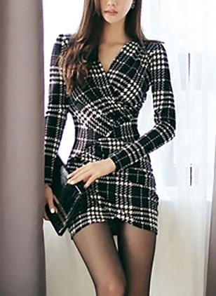 Plaid Skater Long Sleeve Mini Bodycon Dress