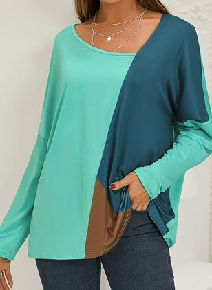Color Block Casual Oblique Neckline Long Sleeve Blouses (122028942)