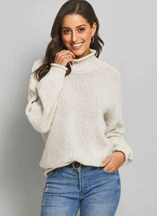 Round Neckline Solid Elegant Loose Regular Shift Sweaters