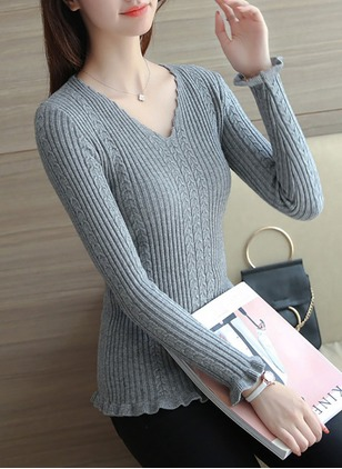 Acrylic V-Neckline Solid Tight Ruffles Sweaters