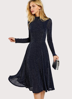 Solid Skater Long Sleeve Midi A-line Dress