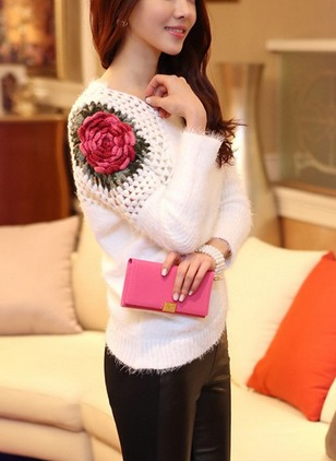 Cotton Round Neckline Floral Loose Embroidery Sweaters