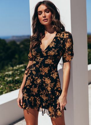 Floral Skater Short Sleeve Above Knee Bodycon Dress