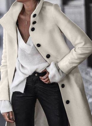 Long Sleeve High Neckline Buttons Coats (1509480)