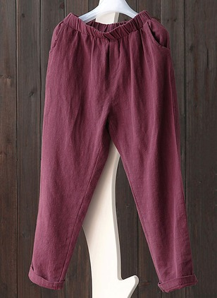 Straight Cotton Linen Trousers Pants & Leggings
